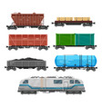 train freight wagons cargo box car containers vector image