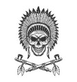 vintage native american indian chief skull vector image vector image