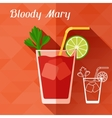 with glass of bloody mary in flat design style vector image