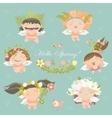 Set of cute spring angels vector image