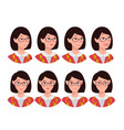 a set of emotions expression of a womans face vector image vector image