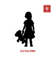 black silhouette of little girl vector image