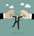 Boss hands are fighting for important businessman vector image vector image