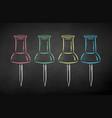 chalk drawn collection push pins vector image