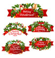 christmas greeting ribbon decoration icons vector image vector image