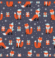 christmas seamless pattern with fox background vector image