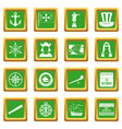 columbus day icons set green vector image vector image