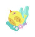 cute little yellow bird symbol of spring vector image