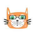 cute red cat head in glasses funny cartoon animal vector image
