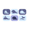 cute whale icons set sea creature animals signs vector image vector image