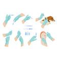 doctor hands syringes vaccine or drug flat vector image