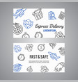 Express delivery line icon bussiness card courier