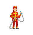 fireman in uniform with hose firefighter vector image vector image