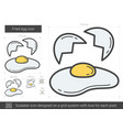 fried egg line icon vector image vector image