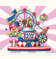 fun fair sign with happy clown and many rides in vector image vector image