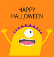 happy halloween card screaming spooky yellow vector image vector image