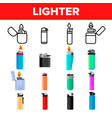 lighter icon set gas tool tobacco lighter vector image vector image