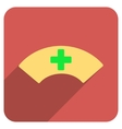 Medical Visor Flat Rounded Square Icon with Long vector image vector image
