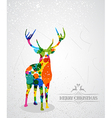 Merry Christmas colorful reindeer shape vector image