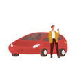 modern guy use smartphone standing near red car vector image