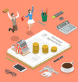 mortgage flat isometric concept vector image vector image