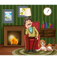 Old man napping on armchair vector image