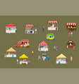 outdoor street food festival with tiny people vector image vector image