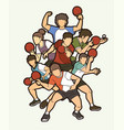 ping pong table tennis players action sport vector image