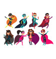 preschool boys and girls superheroes super kid vector image vector image