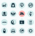 religion icons set with prayer azan scripture vector image vector image