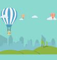 retro hot air balloon sky background vector image