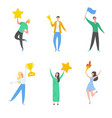set man and woman celebrating victory reward vector image vector image