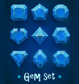 set realistic blue gems various shapes vector image