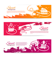 set vintage bakery banners with cupcakes vector image vector image