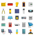 solar energy equipment icons set isolated vector image