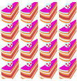 sweet seamless pattern with piece of cakes on a vector image vector image