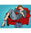 The lady in the chair looks smartphone vector image vector image