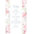 tulip menu card pink vector image vector image