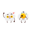 two smiling fried sunny side up egg characters vector image