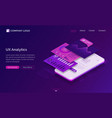 ui ux analytics dashboard isometric landing page vector image