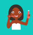 young african-american woman brushing teeth vector image vector image