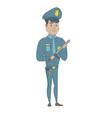 young serious hispanic policeman with baton vector image