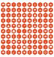 100 exotic animals icons hexagon orange vector image vector image