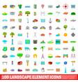 100 landscape element icons set cartoon style vector image vector image