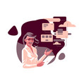 a business woman with a tablet vector image