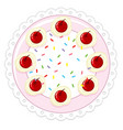 a cherry cake on white background vector image vector image