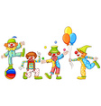 A simple drawing of four playful clowns vector image vector image