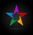 Abstract rainbow star design element on black vector image vector image