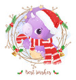 adorable dinosaur for christmas decoration vector image