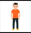 angry boy in spring clothes vector image vector image